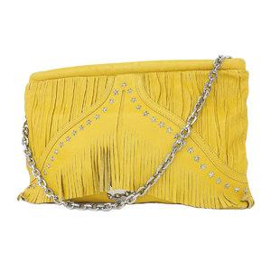 Jimmy Choo Chu Star Studs Fringe Chain Shoulder Bag Clutch Yellow