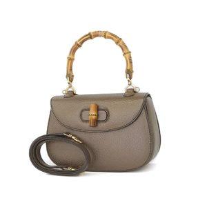 Gucci Bamboo Leather 2way Handbag Shoulder Bronze