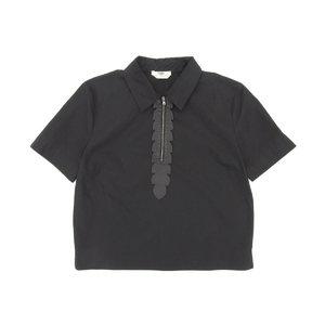 Fendi Ladies Front Zip Shirt Leather Cotton Black 42
