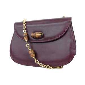 Gucci Leather Chain Shoulder Bag Pouch Pochette Bamboo Bordeaux