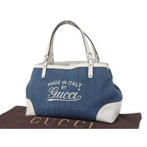 Gucci Japan Only Denim Tote Bag Bicolor White Blue