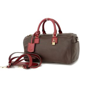 Loewe Logo Mark Leather 2way Handbag Shoulder Dark Brown Red
