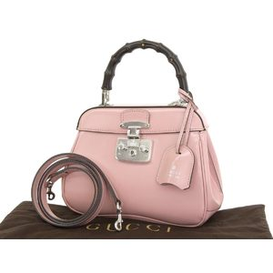 Gucci Lady Rock Bamboo Enamel Handbag Shoulder Pink