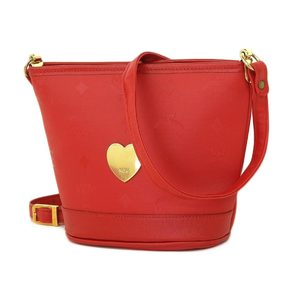 Mcm Leather Heart Metal Shoulder Bag Pochette Accessory Pouch Red