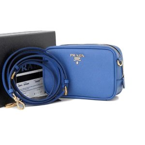 Prada Saferiano Shoulder Bag Pochette Accessory Pouch Blue Cobalt