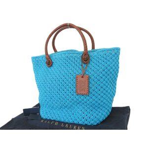 Ralph Lauren Knitted Tote Bag Shoulder Blue Brown