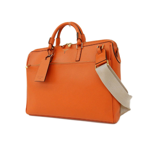 Serapian Therapyan Leather Briefcase Document Bag 2 Way Shoulder Orange Type