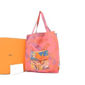 Hermes Silk 100% Silky Pop Underthewaves Under The Wave Tote Bag Rouge Rose Fusa