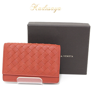 Bottega Veneta Bottega · Veneta Intorechato Nappa Card Case Red Tea Series 133945v001u 6503 Business Holder
