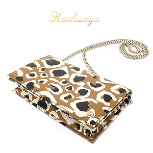 Gucci Leopard Handle Chain Wallet Leather Light Brown Series 354697 Clutch Bag
