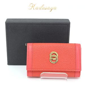 Bvlgari Doppio Tondo 6 Consecutive Key Case Leather Orange Gold Metal Fittings Chain Missing Item Available