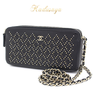 Chanel Studs Chain Wallet Lambskin Black / Gold Hardware 2016 Fall-winter Clutch Shoulder Bag
