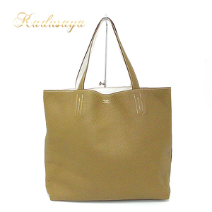 Hermes Dubble Sense 36 Tote Bag Craft × White Reversible Triye Clemmance □ Q Engraved