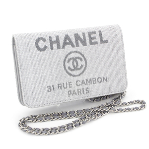 Chanel Deauville Line Chain Wallet Raffia Leather Gray Silver Hardware Coco Mark Women's Shoulder Bag S Rank