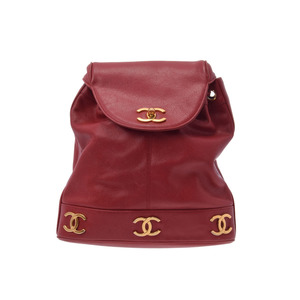 Chanel Women's Caviar Leather Backpack Red