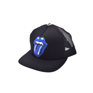 New Article Chrome Hearts Rolling Stones Lip & Tan Leather Patch Mesh Cap