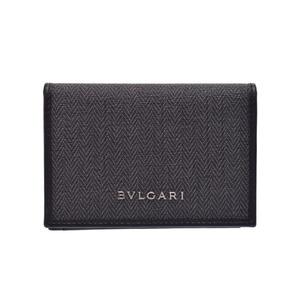 ブルガリ(Bvlgari) 中古 ブルガリ ウィークエンド 名刺入れ カードケース PVC グレー/黒 箱 BVLGARI