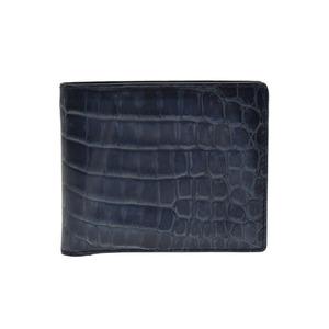 ボッテガ・ヴェネタ(Bottega Veneta) メンズ  クロコダイル 札入れ(二つ折り) ブルー