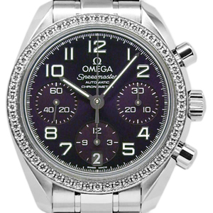 Omega Speedmaster Diamond Bezel 324-15-38-40-10-001 Chronograph Ladies Automatic Purple Violet Dial Watch