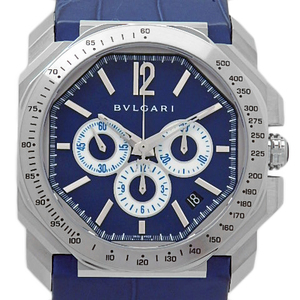 Bvlgari Bulgari Octo Maserati Chronograph Bgo 41sch 1914 Limited Edition Back Schedule Automatic Men's Blue Dial Watch