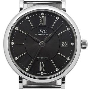 Iwc Portofino Iw 458110 Mid Size 12p Diamond Automatic Gray Dial Watch
