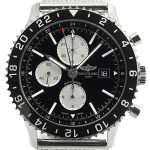 Breitling Chrono Liner Chronograph Gmt Y 24310 2 Time Zone Black Ceramic Bezel Men's Automatic Case Watch Wrist