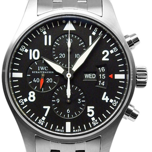 Iwc Pilot Watch Chronograph Iw377704 Day Date Million God 30 Pieces Limited Men's Automatic Black Letter Wrist