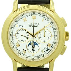 K18yg Zenith El Primero Chrono Master Kurt · Shatti 15 Limited Edition 30.0240.410 91 Moon Phase Automatic Back Scale White Dial Watch