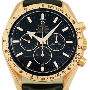 K18pg Omega Speedmaster Broad Arrow Michael Schumacher Chronograph 3659-50-31 Chronometer Automatic Back Scale Men's Silver Dial Watch