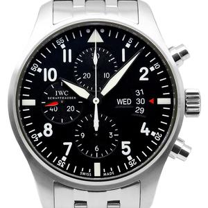 Iwc Pilot Watch Chronograph Iw377704 Day Date Men's Automatic Black Wrist