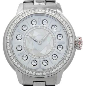Fendi Eye Shine Diamond Gemstone Topaz Mother Of Pearl Fow 416 Ladies Quartz Shell White Dial Watch