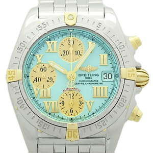 Breitling Chrono Cockpit Bicolo B13358 Chronometer Chronograph Automatic Light Blue Dial Watch