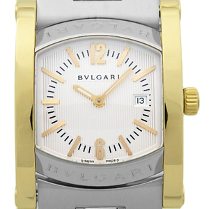 Bvlgari Assioma Ashuma K18yg / Ss Combination Aa 39 Sg Ladies Quartz Silver Dial Plate Watch