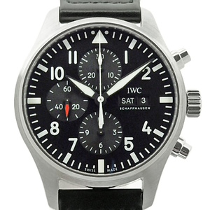 Iwc Pilot Watch Chronograph Iw377709 Day Date Men's Automatic Black Wrist