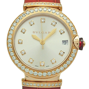 K18pg Bvlgari Le Chair Diamond Lup 33 G Bezel 11p Dial Ragdie Women's Automatic Back Scale Silver Watch