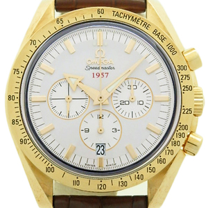 K18yg Omega Speedmaster Broad Arrow Chronograph 321-53-42-50-02-001 Automatic Back Scale Men's Silver Dial Watch