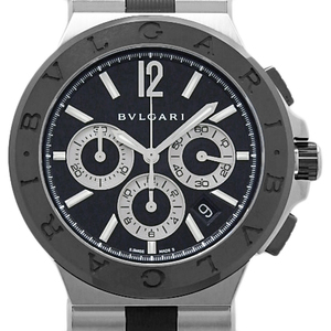 Bvlgari Bvlgari Diagono Ceramic Dg 42 Sch Chronometer Automatic Men's Black Case Watch Wrist