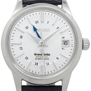 K18 Wg Seiko Gs Grand Special High Beat 36000 Sbgj 007 7 9 86 Automatic Back Scale Men's Silver Dial Watch