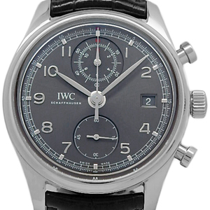 Iwc Portuguese Chronograph Classic Iw 390404 Men's Automatic Back Scale Gray Dial Watch