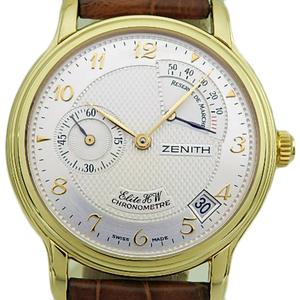K18yg Zenith Chrono Master Elite Hw Reserve De Marche 30 0240 655 Power Men's Handwrap Silver Dial Watch Wrist