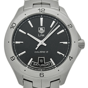 Tag Heuer Link Caliber 5 Day Date Wat 2010 Ba 0951 Men's Automatic Back Skeleton Black Box Wrist Watch