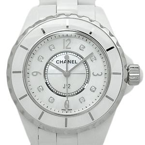 Chanel J12 H2422 White Ceramic 8p Diamonds 33mm Quartz Shell Dial Watch