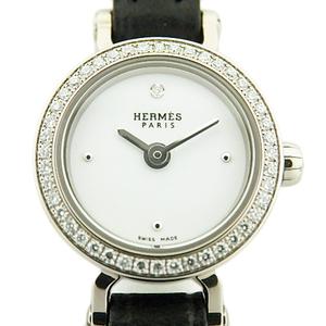 K18wg Hermes Hermès Fauvis Diamond Bezel Fg1.191 040548ww Quartz Ladies White Dial Watch