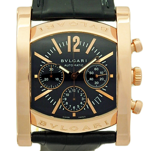 K18pg Bvlgari Bulgari Assioma Ashma Chronograph Aap 48 Gch 199 Limited Men's Automatic Black Letter Watch Wrist