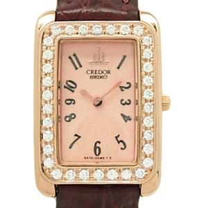 K18pg Seiko Credor Diamond Bezel Gtwe946 5a70-0ab0 Women's Quartz Pink Dial Plate Watch
