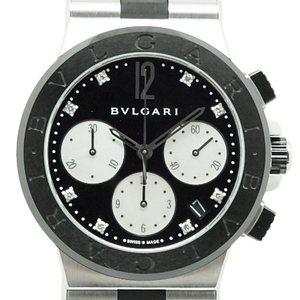 Bvlgari Diagono Chronograph Dg37scch 8p Diamond Automatic Black / Shell Dial Watch