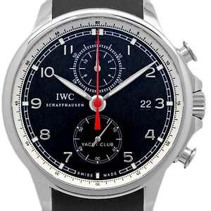 Iwc Portuguese Yacht Club Iw390204 Chronograph Men's Automatic Flyback Back Scales Black Letter Board Watch