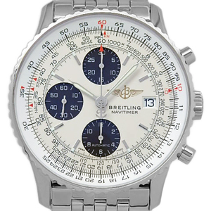 Breitling Old Navy Timer Japan Edition A 13324 Chronograph Men's Automatic Silver Dial Watch Wrist