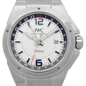 Iwc Inn Junior Dual Time Iw 324404 Gmt Mens Automatic Silver Dial Watch