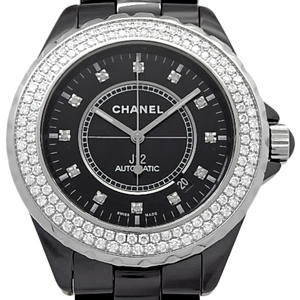 Chanel J12 Diamond Bezel 12p H2014 Ceramic Men's Automatic Horn Black Letter Board Watch